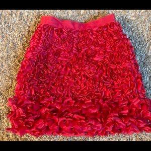 Red Giambattista Valli rose skirt.